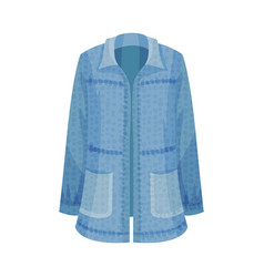 Denim blue loose shirt with long sleeves as vector