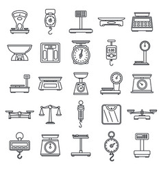 Digital weigh scales icons set outline style vector