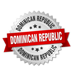 Dominican republic round silver badge vector