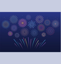 festive multicolored fireworks in various forms vector image