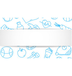Fitness banner with hand drawn gym pattern and 3d vector