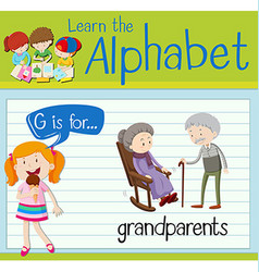 Flashcard letter G is for grandparents vector
