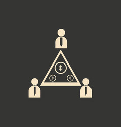 Flat in black and white people pyramid money vector