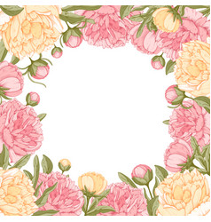 Floral frame with peony flowers vector