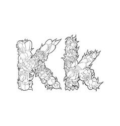Flower alphabet the letter k vector