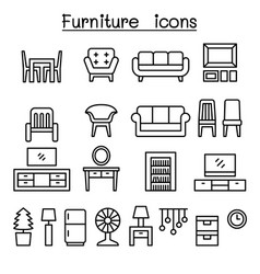 furniture in front view icon set vector image