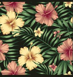 golden burgundy hibiscus plumeria leaves seamless vector image