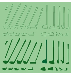 Golf sport items linear and silhouette set vector image
