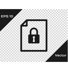 Grey document and lock icon isolated on vector