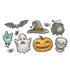 halloween symbol set holiday concept vector image