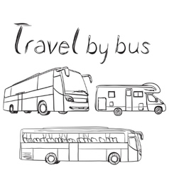 Hand drawn transport set Bus and trailer vector image