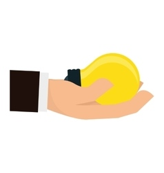 Hand holding lightbulb icon image vector