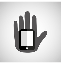 Hand holding smartphone icon vector