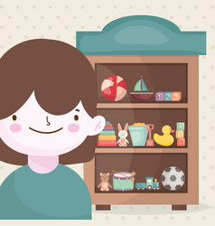 happy little boy and wooden shelf toys vector image