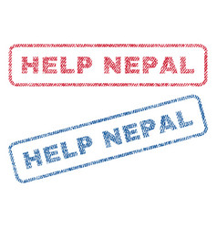 Help nepal textile stamps vector