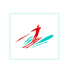 high-speed water skiing vector image