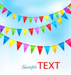 Holiday background with birthday colorful flags vector image
