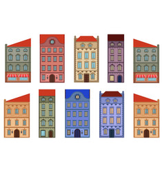 houses set different old european buildings vector image