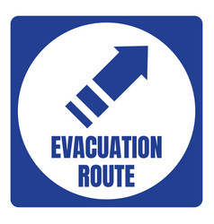 Hurricane evacuation route road sign blue square vector