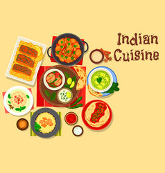 Indian cuisine dinner with cream dessert icon vector