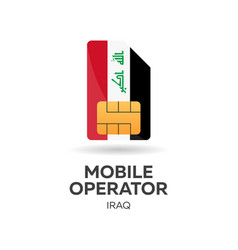 Iraq mobile operator sim card with flag vector
