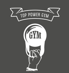 iron weight in hand - weightlifting gym poster vector image