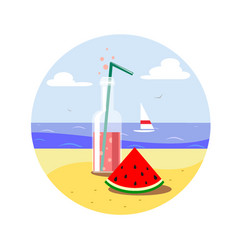 juice in a bottle and watermelon slice vector image