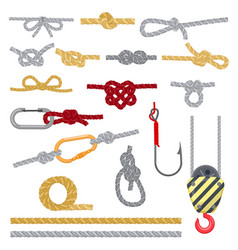 Knots set rope with loop vector