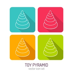 line art toy pyramid icon set in four color vector image