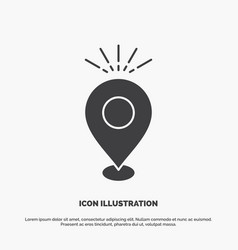Location pin camping holiday map icon glyph gray vector