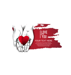 Love with hand and red heart on white background vector
