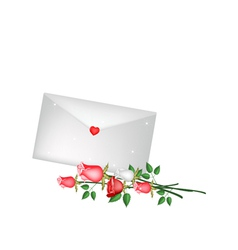 Lovely Rose Flower with A Love Letter vector image