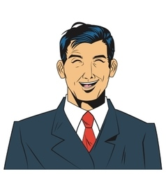 man with jacket and tie laughing vector image