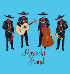 Mariachi musicians with musical instruments vector