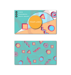 memphis style pattern business card template vector image