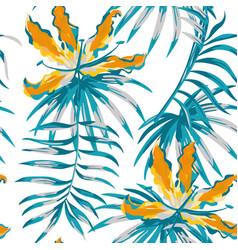 Orange gloriosa painting blue color seamless vector