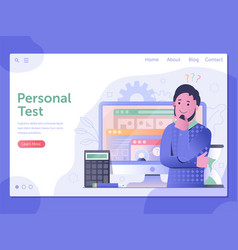 Personal ability test web landing page template vector