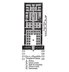 Plan of the temple of chons khonsu vintage vector