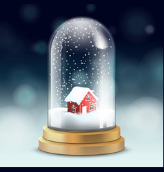 realistic crystal ball or tall flask with snow vector image