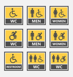 Restroom signs for disabled people accessible vector