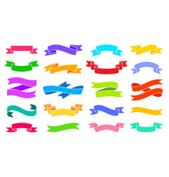 Ribbon bright colorful silhouette icons set vector
