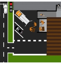 Road infographics Displayed goods unloaded in the vector
