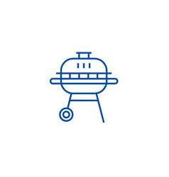 round barbeque line icon concept round barbeque vector image