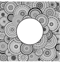 Round frame on mandalas background coloring page vector
