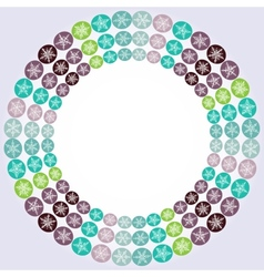 Round frame with snowflakes on white background vector image