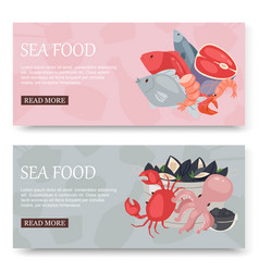 Seafood and fish set banners vector