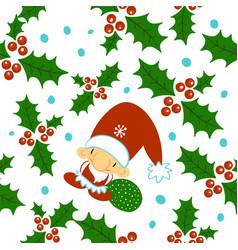 seamless doodles christmas pattern cartoon vector image