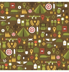 Seamless pattern of flat colorful military and war vector image