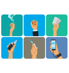set bad habit addiction icons unhealthy vector image