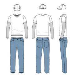 set of male tee jeans baseball cap vector image